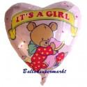 Geburt und Taufe Luftballon, Mädchen-Girl, Folienballon mit Ballongas