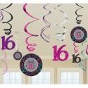 Swirls Sweet 16, Geburtstagsdekoration, Zahlenwirbler zum 16. Geburtstag