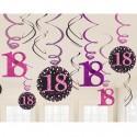 Geburtstag Dekoration Swirls, Pink Celebration 18
