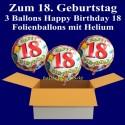 """Geburtstag """"Balloons 18"""" 3 Ballons mit Helium zum 18. Geburtstag"""