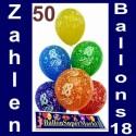 Luftballons zum 18. Geburtstag, Zahlenballons, Latexballons 50 Stück