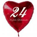 24. Geburtstag, roter Herzluftballon aus Folie, 61 cm groß, mit Helium