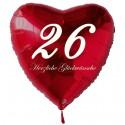 26. Geburtstag, roter Herzluftballon aus Folie, 61 cm groß, mit Helium