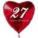 27. Geburtstag, roter Herzluftballon aus Folie, 61 cm groß, mit Helium