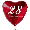 28. Geburtstag, roter Herzluftballon aus Folie, 61 cm groß, mit Helium