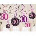 Geburtstag Dekoration Swirls Pink Celebration 30