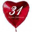 31. Geburtstag, roter Herzluftballon aus Folie, 61 cm groß, mit Helium