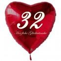 32. Geburtstag, roter Herzluftballon aus Folie, 61 cm groß, mit Helium