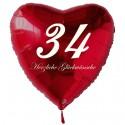 34. Geburtstag, roter Herzluftballon aus Folie, 61 cm groß, mit Helium