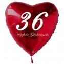 36. Geburtstag, roter Herzluftballon aus Folie, 61 cm groß, mit Helium