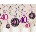 Geburtstag Dekoration, Swirls Pink Celebration 40