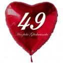 49. Geburtstag, roter Herzluftballon aus Folie, 61 cm groß, mit Helium