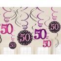 Geburtstag Dekoration Swirls Pink Celebration 50