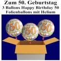"""Geburtstag """"Balloons 50"""", 3 Ballons aus Folie mit Helium zum 50. Geburtstag"""