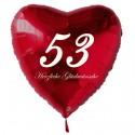 53. Geburtstag, roter Herzluftballon aus Folie, 61 cm groß, mit Helium