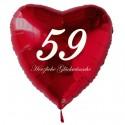 59. Geburtstag, roter Herzluftballon aus Folie, 61 cm groß, mit Helium
