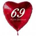 69. Geburtstag, roter Herzluftballon aus Folie, 61 cm groß, mit Helium