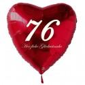 76. Geburtstag, roter Herzluftballon aus Folie, 61 cm groß, mit Helium