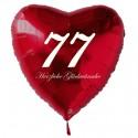 77. Geburtstag, roter Herzluftballon aus Folie, 61 cm groß, mit Helium