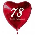 78. Geburtstag, roter Herzluftballon aus Folie, 61 cm groß, mit Helium