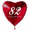 82. Geburtstag, roter Herzluftballon aus Folie, 61 cm groß, mit Helium