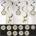 Geburtstag Dekoration, Swirls Black and Gold mit Zahlen von 18-90