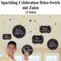 Deko-Wirbler Swirls, Sparkling Celebration Birthday mit Zahlen zum Einkleben, 12 Stück