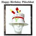 Partyhut Happy Birthday, Plüschhut mit Geburtstagskerzen