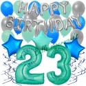 34-teiliges Geburtstagsdeko-Set mit Luftballons, Happy Birthday Aquamarin zum 23. Geburtstag