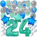 34-teiliges Geburtstagsdeko-Set mit Luftballons, Happy Birthday Aquamarin zum 24. Geburtstag