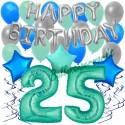 34-teiliges Geburtstagsdeko-Set mit Luftballons, Happy Birthday Aquamarin zum 25. Geburtstag