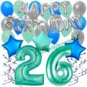 34-teiliges Geburtstagsdeko-Set mit Luftballons, Happy Birthday Aquamarin zum 26. Geburtstag