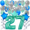 34-teiliges Geburtstagsdeko-Set mit Luftballons, Happy Birthday Aquamarin zum 27. Geburtstag