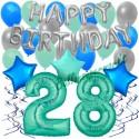 34-teiliges Geburtstagsdeko-Set mit Luftballons, Happy Birthday Aquamarin zum 28. Geburtstag