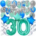 34-teiliges Geburtstagsdeko-Set mit Luftballons, Happy Birthday Aquamarin zum 30. Geburtstag