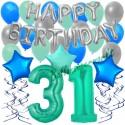 34-teiliges Geburtstagsdeko-Set mit Luftballons, Happy Birthday Aquamarin zum 31. Geburtstag