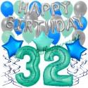 34-teiliges Geburtstagsdeko-Set mit Luftballons, Happy Birthday Aquamarin zum 32. Geburtstag