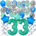 34-teiliges Geburtstagsdeko-Set mit Luftballons, Happy Birthday Aquamarin zum 33. Geburtstag