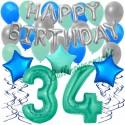 34-teiliges Geburtstagsdeko-Set mit Luftballons, Happy Birthday Aquamarin zum 34. Geburtstag