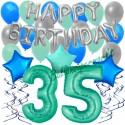 34-teiliges Geburtstagsdeko-Set mit Luftballons, Happy Birthday Aquamarin zum 35. Geburtstag