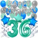 34-teiliges Geburtstagsdeko-Set mit Luftballons, Happy Birthday Aquamarin zum 36. Geburtstag