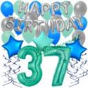 34-teiliges Geburtstagsdeko-Set mit Luftballons, Happy Birthday Aquamarin zum 37. Geburtstag