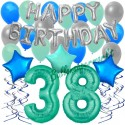 34-teiliges Geburtstagsdeko-Set mit Luftballons, Happy Birthday Aquamarin zum 38. Geburtstag