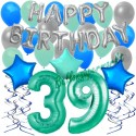 34-teiliges Geburtstagsdeko-Set mit Luftballons, Happy Birthday Aquamarin zum 39. Geburtstag