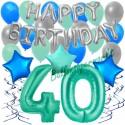 34-teiliges Geburtstagsdeko-Set mit Luftballons, Happy Birthday Aquamarin zum 40. Geburtstag
