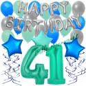 34-teiliges Geburtstagsdeko-Set mit Luftballons, Happy Birthday Aquamarin zum 41. Geburtstag