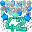 34-teiliges Geburtstagsdeko-Set mit Luftballons, Happy Birthday Aquamarin zum 42. Geburtstag