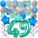 34-teiliges Geburtstagsdeko-Set mit Luftballons, Happy Birthday Aquamarin zum 49. Geburtstag