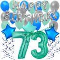34-teiliges Geburtstagsdeko-Set mit Luftballons, Happy Birthday Aquamarin zum 73. Geburtstag