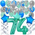 34-teiliges Geburtstagsdeko-Set mit Luftballons, Happy Birthday Aquamarin zum 74. Geburtstag